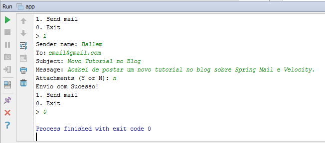 Figura 2 - Exemplo do envio de e-mail.